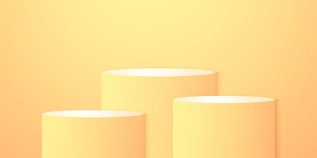 Sfondo del prodotto podio rotondo arancione e giallo brillante mock up per la visualizzazione e l'evento estivo