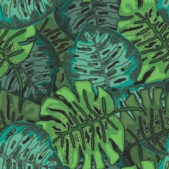 Motivo luminoso con foglie di monstera sovrapposte