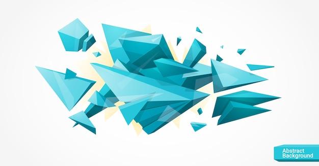 Sfondo geometrico poligonale luminoso con molte parti e spazio per il testo