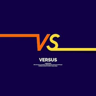 Simboli poster luminosi di confronto vs. illustrazione vettoriale su sfondo scuro con uno stile minimalista alla moda.