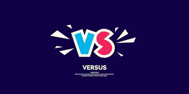 Simboli di poster luminosi di confronto vs illustrazione vettoriale su sfondo scuro