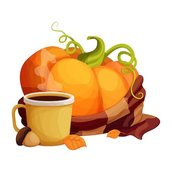 Zucca brillante con sciarpa calda tazza con bevanda calda decorata con ghiande e foglie