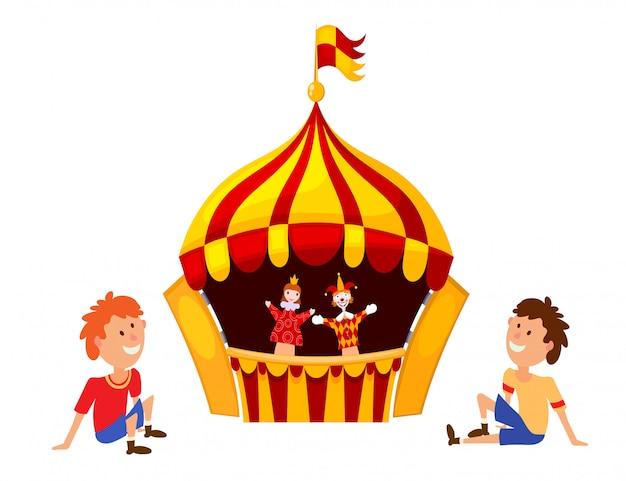 Luminoso un teatro di marionette su uno sfondo bianco