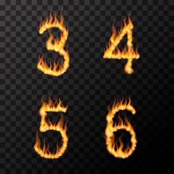 Fiamme di fuoco realistiche luminose a forma di 3 4 5 6 lettere, concetto di carattere caldo su trasparente