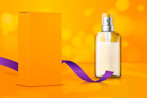 Luminosa configurazione realistica per il marchio del pacchetto di cosmetici