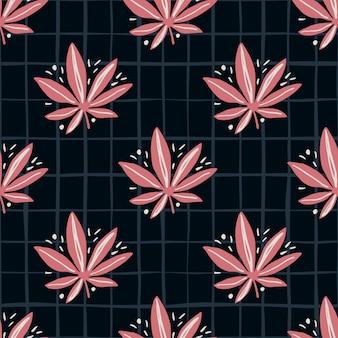 Modello di marijuana senza soluzione di continuità brillante. sfondo nero con foglie di cannabis toni check e rosa.