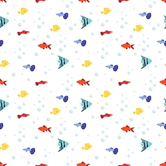 Modello marino senza cuciture luminoso con pesce e bolle