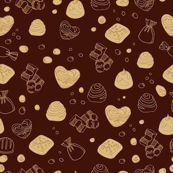 Cibo da dessert luminoso senza cuciture deliziosi pezzi di caramelle al cioccolato al latte
