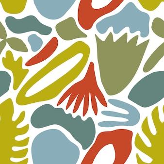 Modello senza cuciture luminoso con forme colorate astratte ed elementi di natura verde su sfondo bianco. illustrazione vettoriale moderna in stile piatto per carta da imballaggio, carta da parati, sfondo, stampa.