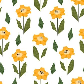 Modello senza cuciture luminoso con simpatici girasoli gialli e arancioni in stile scandinavo
