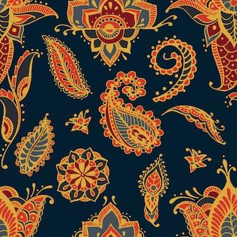 Modello senza cuciture luminoso con elementi mehndi di paisley. carta da parati disegnata a mano con ornamento indiano tradizionale floreale su sfondo scuro.