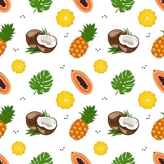 Modello senza cuciture luminoso con papaia, cocco e ananas.