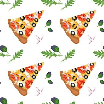 Modello senza cuciture luminoso con fette di pizza fast food stampa con verdure