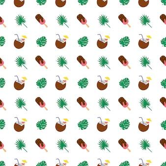 Brillante motivo estivo senza cuciture con foglie di palma, gelati e noci di cocco