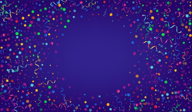 Priorità bassa blu di turbinio luminoso della serpentina. design di particelle di natale. coriandoli isolati.