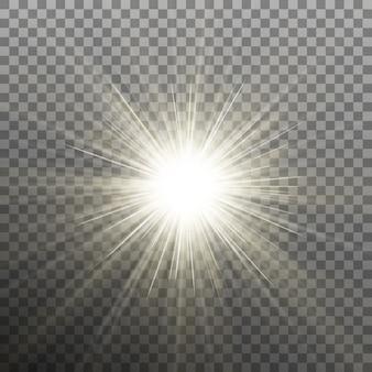 Stella splendente luminosa. esplosione esplosiva. sfondo trasparente solo in
