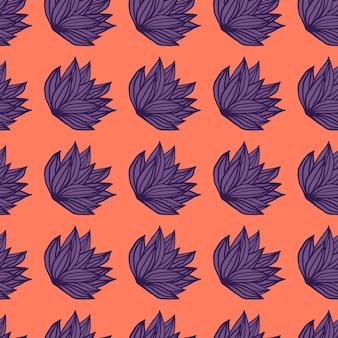Arbusto luminoso frondeggia seamless pattern. fogliame disegnato a mano in toni viola su sfondo corallo.