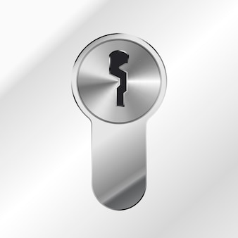 Buco della serratura lucido d'argento luminoso su fondo metallico