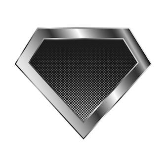 Logo supereroe argento brillante su priorità bassa bianca. logo diamante lucido.