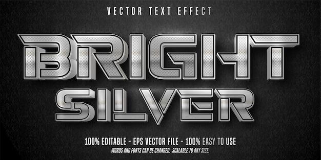 Testo argento brillante, stile argento lucido, effetto testo modificabile