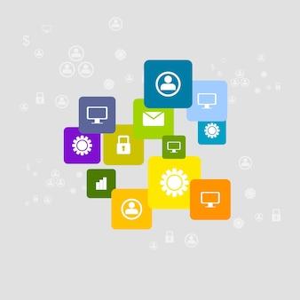 Sfondo luminoso icone di comunicazione sociale. design aziendale vettoriale