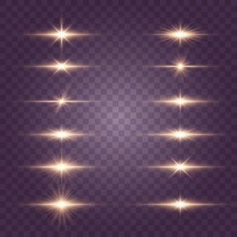 Stella luminosa, sole splendente, set di effetti luminosi