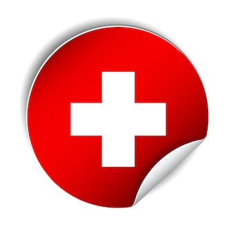Adesivo luminoso con bandiera svizzera. sfondo della festa nazionale svizzera. illustrazione luminosa con bandiera. illustrazione vettoriale su sfondo bianco.