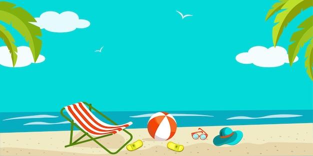 Illustrazione di vettore di panorama luminoso della spiaggia di estate. cartone animato paesaggio balneare con articoli da viaggio sulla spiaggia.