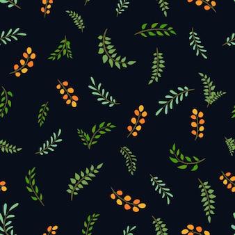 Modello di bacche estive luminose con foglie e rami su sfondo blu scuro