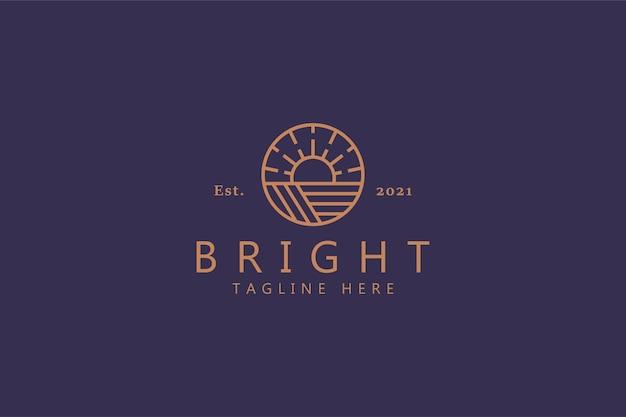 Bright sunrise logo. elegante simbolo di colore oro. migliore identità di marca di tendenza. fattoria, moda, hipster, avventura, distintivo della natura.