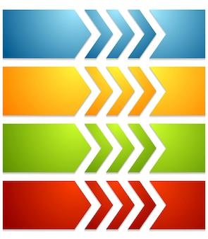 Banner web tecnologici luminosi con frecce. disegno vettoriale