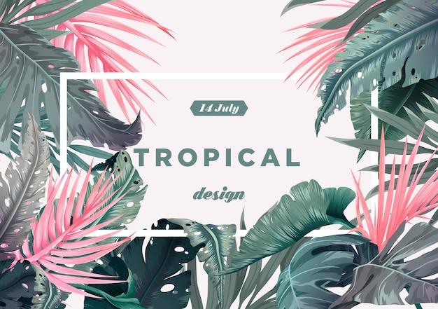 Sfondo tropicale luminoso con piante della giungla motivo esotico con foglie di palma illustrazione vettoriale