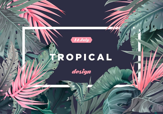 Sfondo tropicale luminoso con piante della giungla. motivo esotico con foglie di palma. illustrazione vettoriale