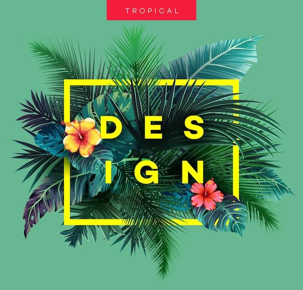 Sfondo tropicale luminoso con piante della giungla. modello esotico con foglie di palma.