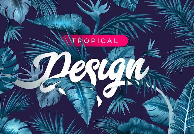 Sfondo tropicale luminoso con piante della giungla motivo esotico con foglie tropicali vector
