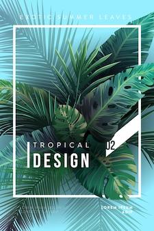 Sfondo tropicale luminoso con piante della giungla modello esotico con foglie tropicali vector