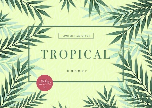 Sfondo tropicale luminoso con piante della giungla. motivo esotico con foglie tropicali