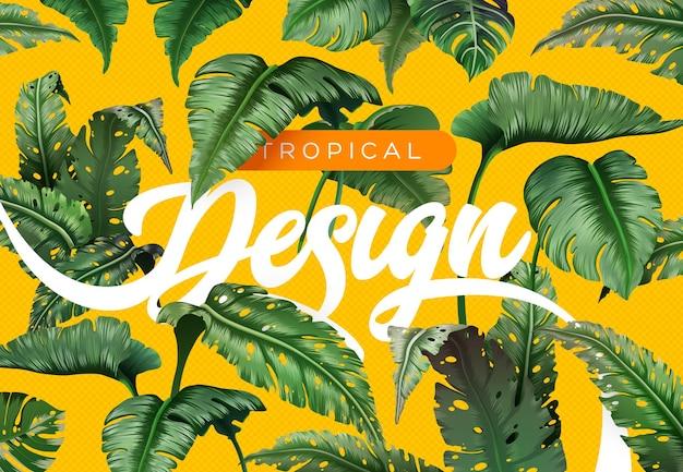 Sfondo tropicale luminoso con piante della giungla motivo esotico con foglie tropicali