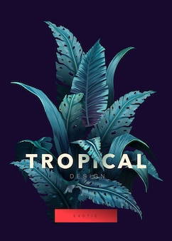 Sfondo tropicale luminoso con piante della giungla. foglie tropicali esotiche.
