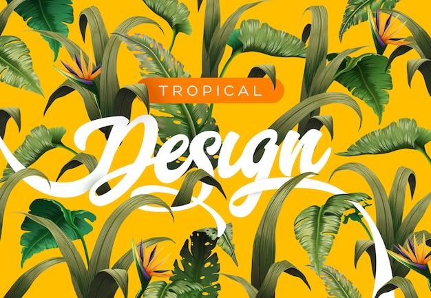 Sfondo tropicale luminoso con piante della giungla. illustrazione