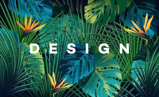 Sfondo tropicale luminoso con piante della giungla. reticolo esotico di vettore con foglie di palma.