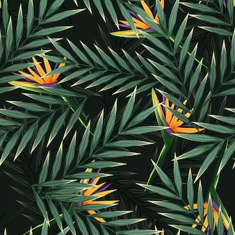 Modello senza cuciture tropicale luminoso con piante della giungla. sfondo esotico con foglie tropicali. vettore