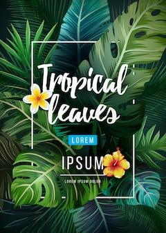 Tropicale luminoso con piante della giungla. foglie di palma esotiche, illustrazione