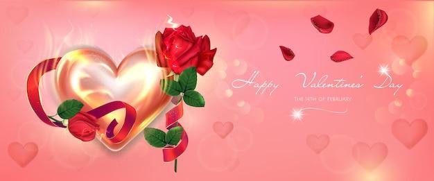 Banner luminoso di san valentino con cuore incandescente e rose