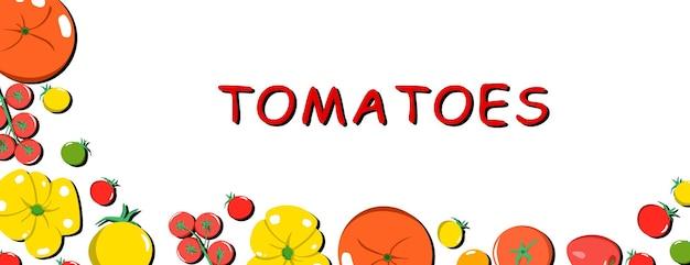 Banner vettoriale luminoso di diverse varietà di pomodori spazio vegetale fresco del fumetto per il testo