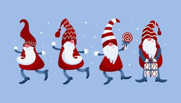 Luminoso set vettoriale di simpatici gnomi natalizi in berretto con regalo lecca-lecca