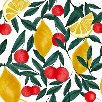 Reticolo senza giunte luminoso acquerello ciliegia esotica limone e foglie verdi