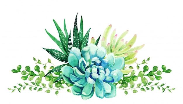 Piante acquerellate luminose, il bouquet di piccoli colori