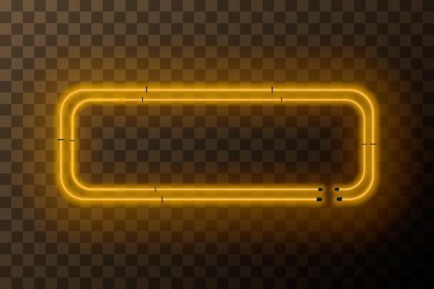 Cornice rettangolare al neon giallo brillante su sfondo trasparente