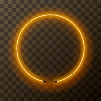 Cornice rotonda al neon giallo brillante su sfondo trasparente